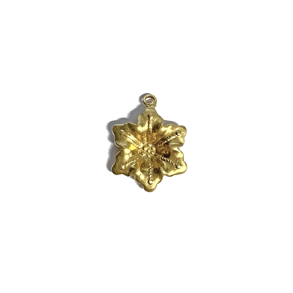 brass charm, flower charm, jewelry making, 06432, raw brass, unplated brass, brass jewelry parts, vintage jewelry supplies, US made jewelry, nickel free jewelry, B'sue Boutiques