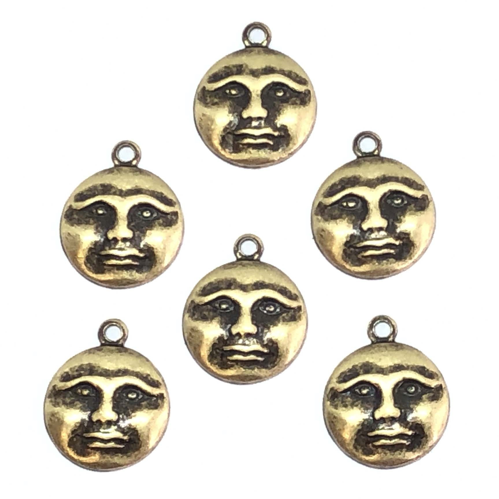 moon charm, 06600, brass ox, antique brass, antique black, moon face, jewelry making supplies, jewelry making supplies, US made, nickel free jewelry supplies, face charms