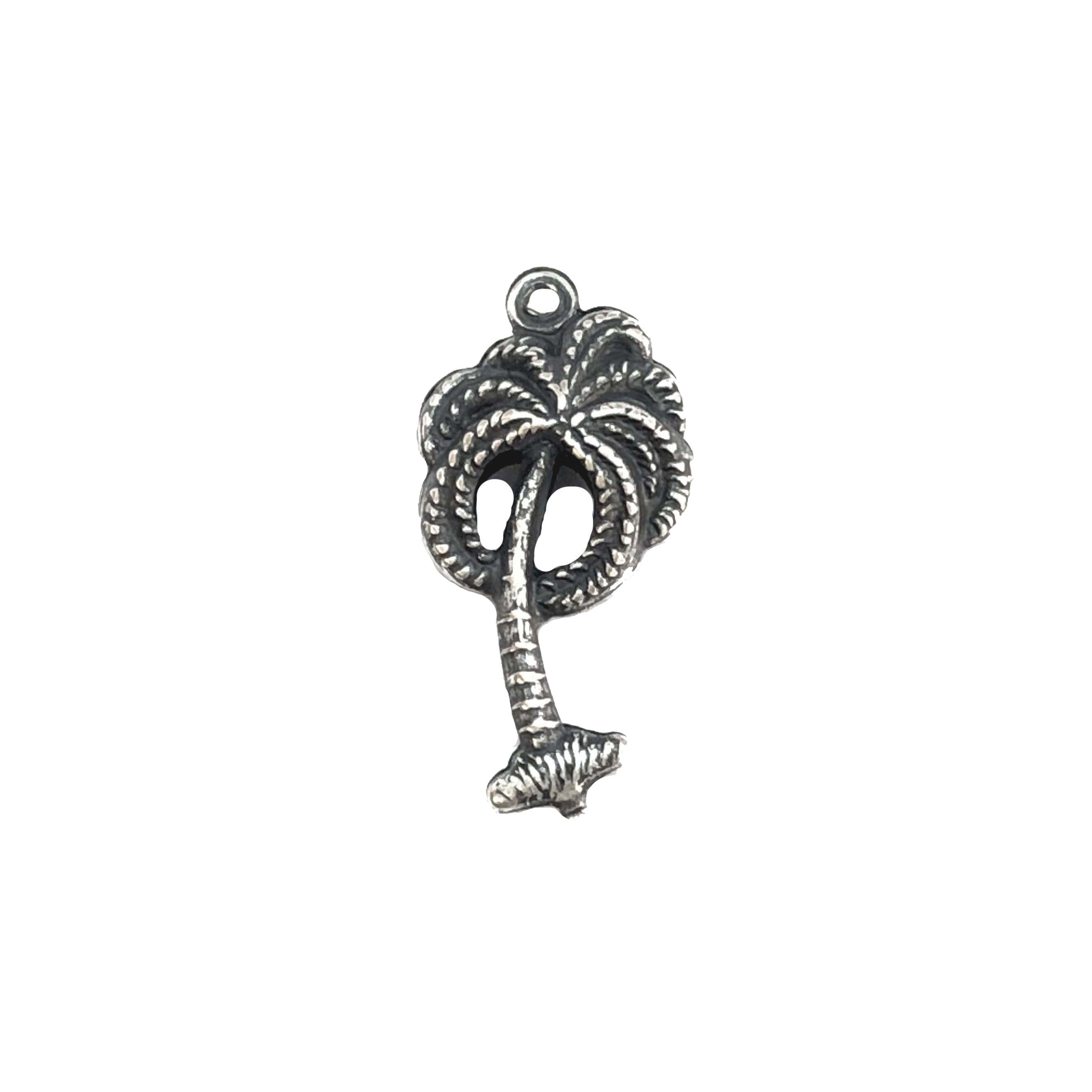 brass charm, palm tree charms, 06908, silverware silverplate, jewelry parts, vintage jewelry supplies, beach jewelry, US made jewelry, nickel free jewelry, B'sue Boutiques, jewelry making