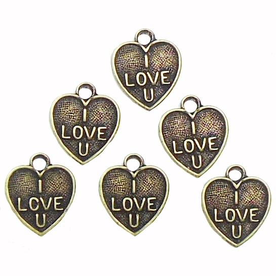 """I Love U"" Heart Charms, Brass Ox, Charms"