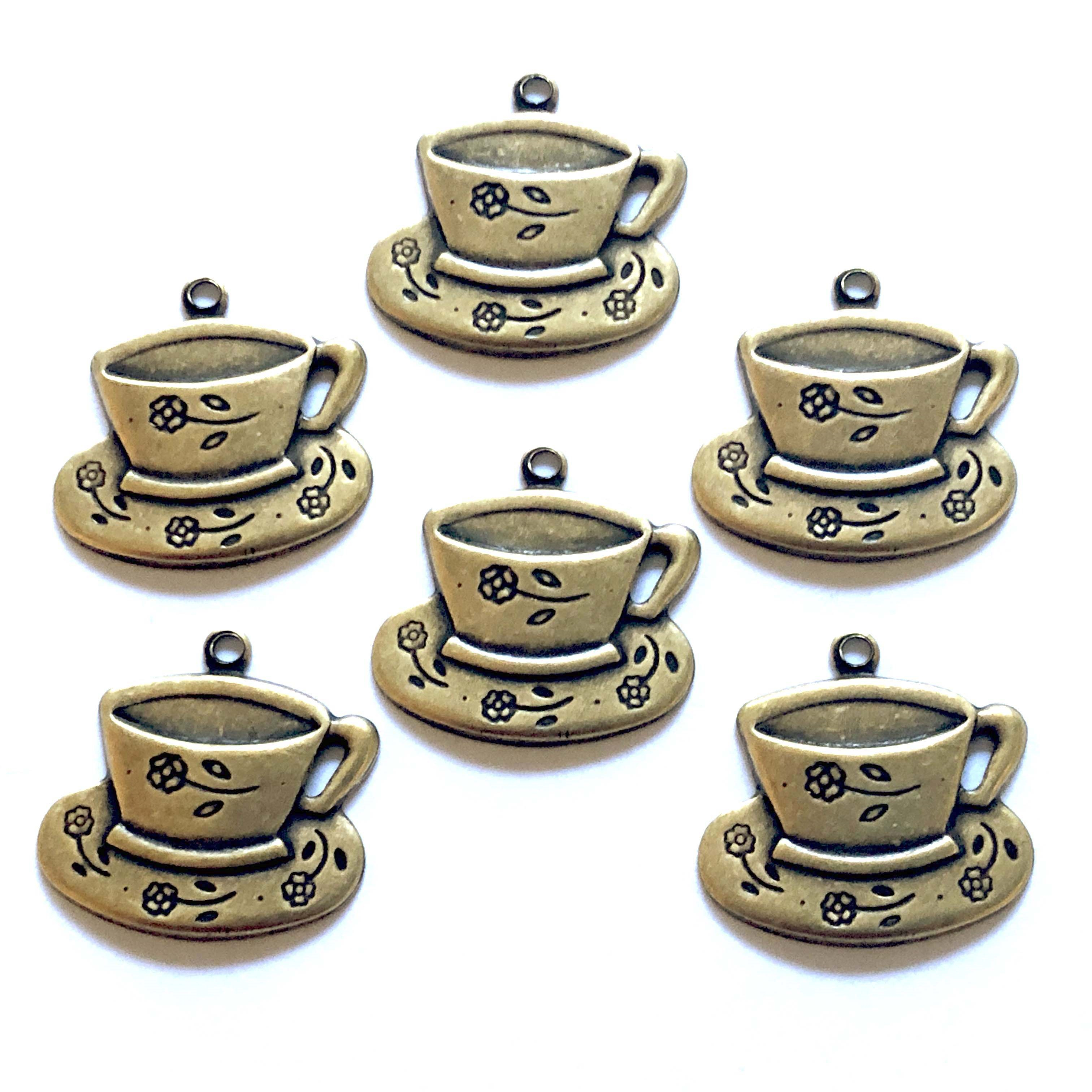 brass tea cups, tea cup charms, brass ox, antique brass, 07066, tea time charms, jewelry making supplies, vintage jewelry supplies, bsueboutiques, black antiquing