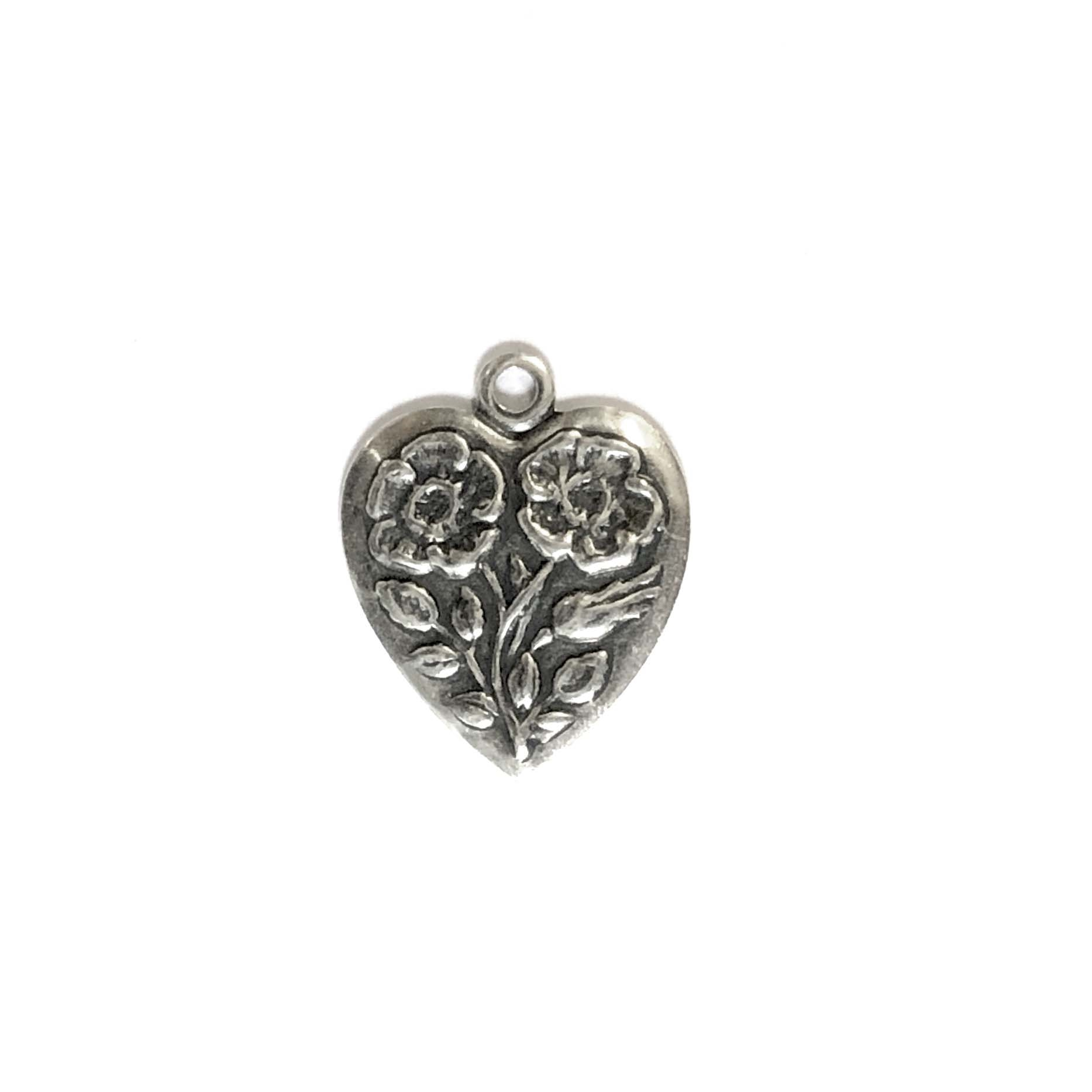 brass charms, heart charms, silverware silverplate, 07114, floral heart charms, antique silver, vintage jewelry supplies, brass jewelry parts, jewelry findings.