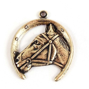 brass horse charms, horseshoe charm, brass ox, 07219, B'sue Boutiques, nickel free, US made, brass jewelry parts, vintage jewellery supplies, stampings brass, vintage brass stampings, horse pendants, western jewelry, cowboy jewelry