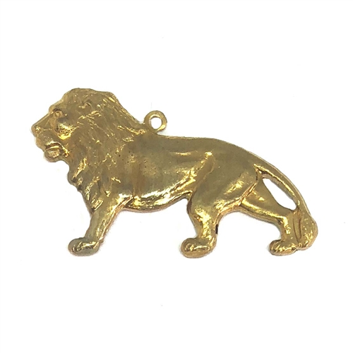 brass lion, lion charm, charm, 07350, patina brass, unplated brass, raw brass charm, animals, animal charm, king of the jungle, male lion, jewelry supplies, jewelry making, Bsue Boutiques