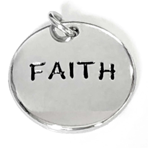 faith charms, antique silver, jewelry making, 07354, brass charms, brass pendants, US made jewelry supplies, jewelry making supplies, silver plate charms, word charms, nickel free jewelry supplies, bsueboutiques