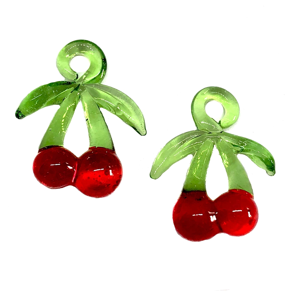 glass cherry springs, fruit charm, 07557, jewelry making, jewelry supplies, fruit stampings, glass fruit, bsue boutiques, cherries, blown glass