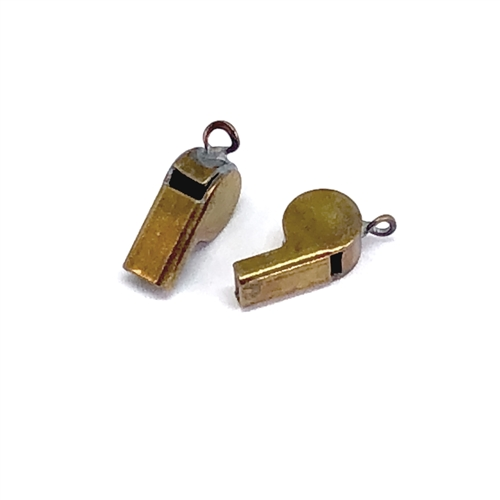 vintage whistle, whistle charm,  07592,  patina brass, B'sue Boutiques, working whistle, 6.5 x 11mm, charm, pendant, whistles, jewelry supplies, vintage jewelry supplies