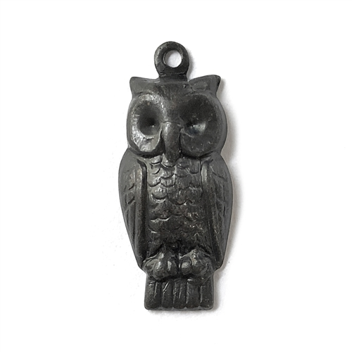perched owl charm, matte black, ebony brass, owl, charm, 24x11mm, owl charm, matte black brass, brass stamping, B'sue Boutiques, nickel free, US made, vintage supplies, jewelry making, animal charm, antique black, jewelry supplies, jewelry findings, 07751