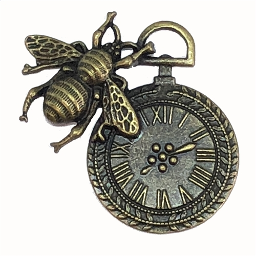 Steampunk clock and bee pendant, 07854, clock pendant, clock charm, bee pendant,  jewelry making supplies, cast jewelry, bsueboutiques, steampunk art, steampunk clock, clock jewelry, cast bronze