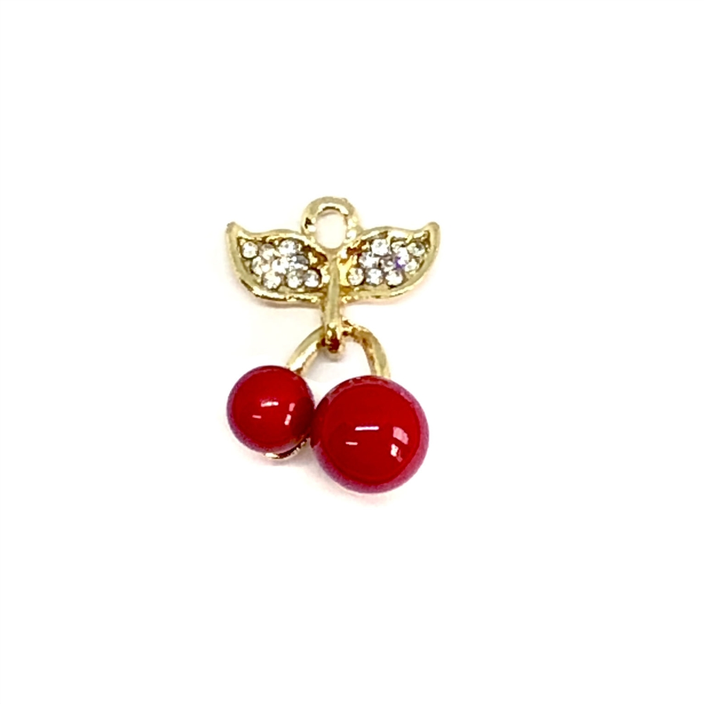 winged cherry ear drops, cherry charms, 07855, jewelry making supplies, earring supplies, charm supplies, earring jewelry, charm jewelry, cast metal, gold plate, imitation crystal rhinestones, vintage jewelry supplies, bsueboutiques