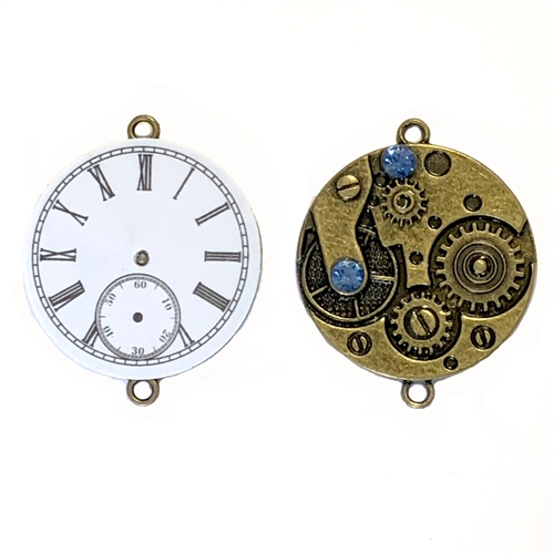 Steampunk reversible clock, 07859, clock pendant, clock charm, clock connector, jewelry making supplies, cast jewelry, bsueboutiques, reversible clock, steampunk art, steampunk clock, clock jewelry