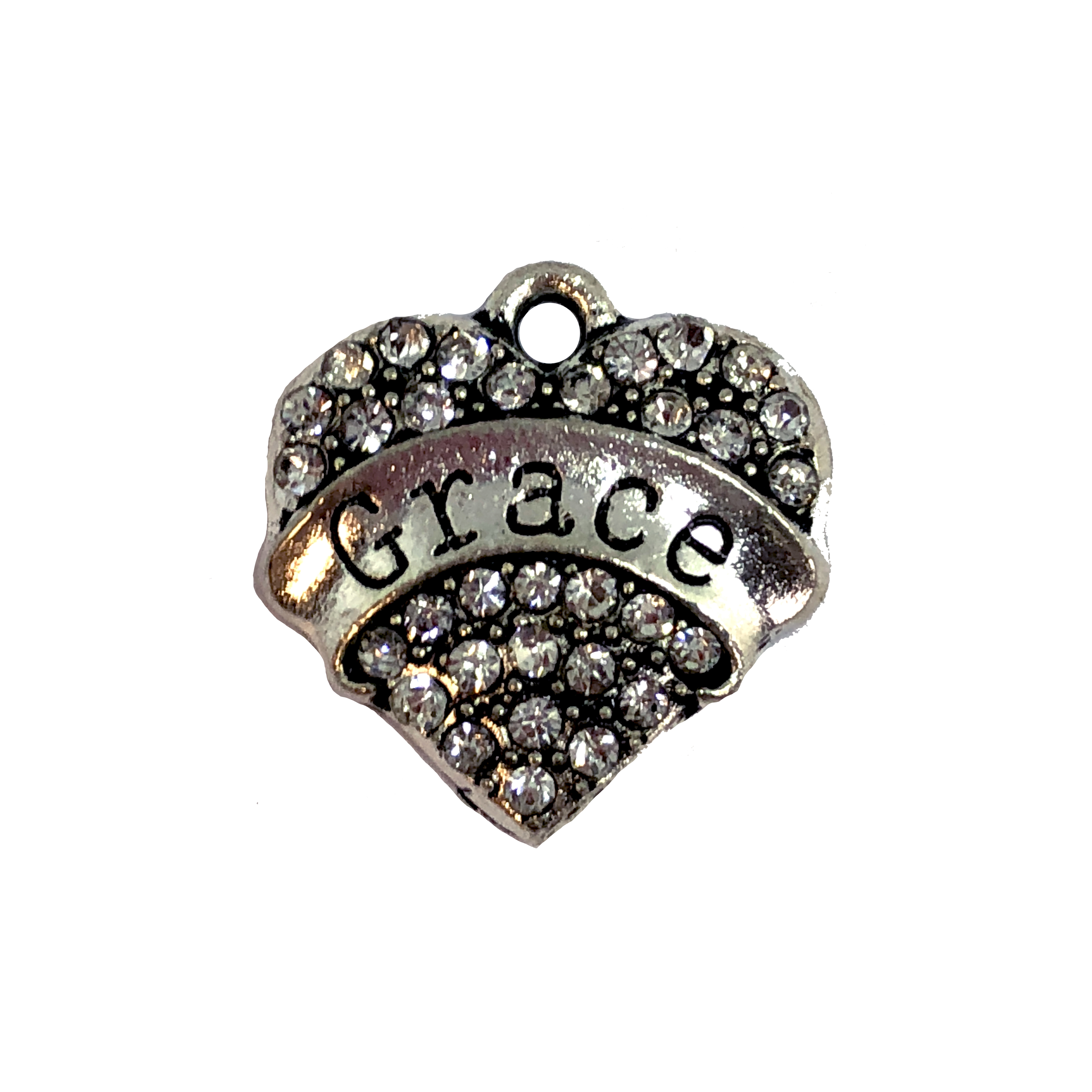 heart charm, grace charm, 07865, charm, charms, hearts, family, sister, B'sue Boutiques, jewelry supplies, embellishments, silvertone, rhinestones