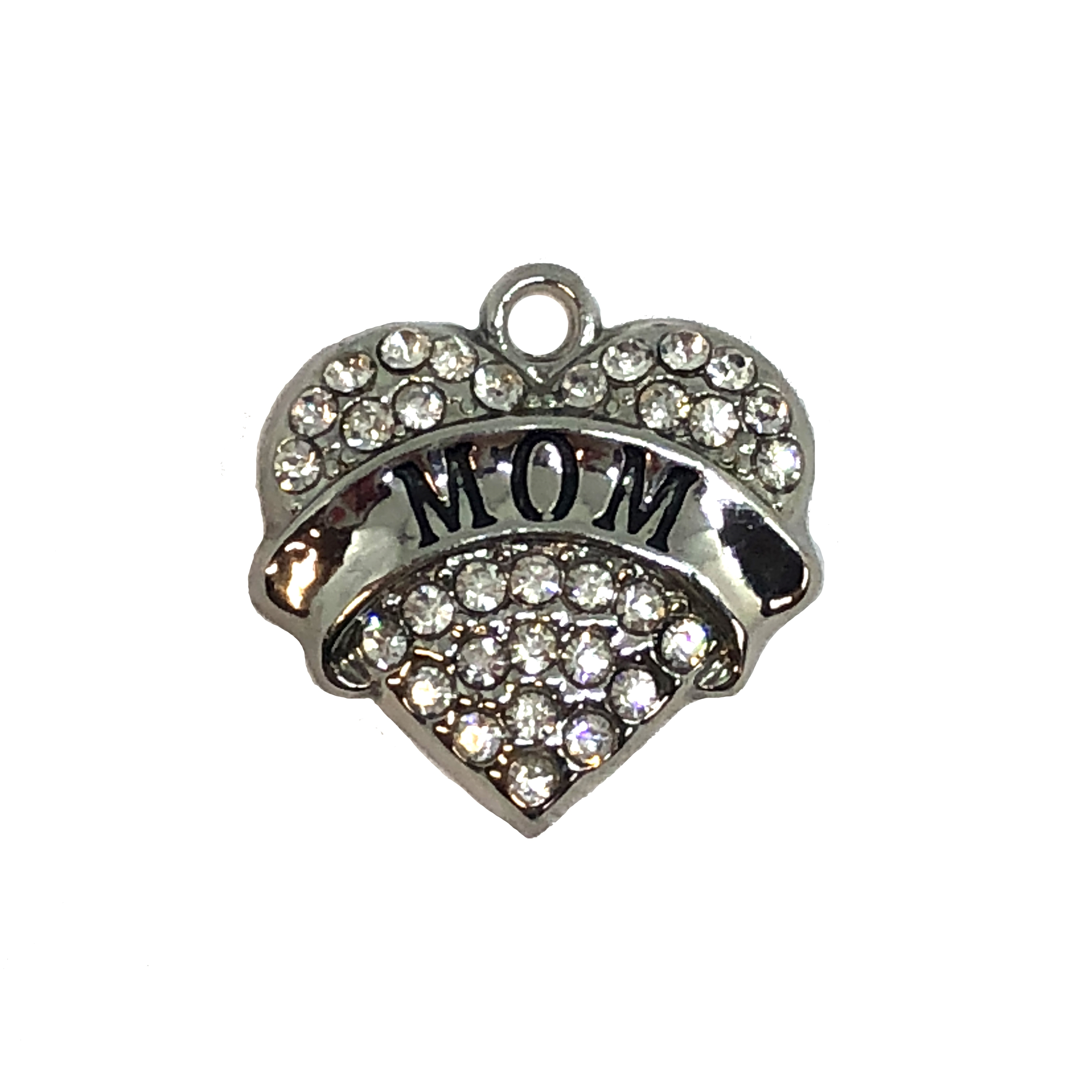 heart charm, mom charm, 07867, charm, charms, hearts, family, sister, B'sue Boutiques, jewelry supplies, embellishments, silvertone, rhinestones