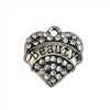 heart charm, beauty charm, 07870, charm, charms, hearts, family, sister, B'sue Boutiques, jewelry supplies, embellishments, silvertone, rhinestones