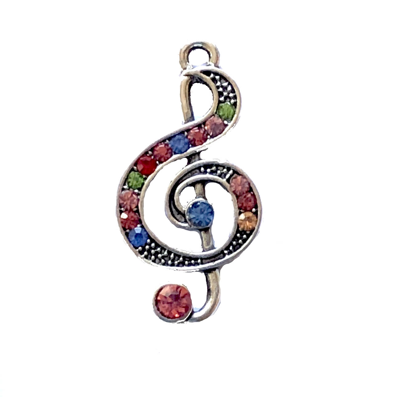 Silvertone treble clef, music charm, 07889, crystals, multi-color crystals, music notes, music, silvertone, pendant, music pendant, charm, music charm, bsue boutiques, jewelry supplies, silver
