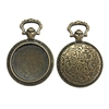 pocket watch pendant, bronze, 07891, B'sue Boutiques, 38 x 26mm,  jewelry supplies, watch findings, jewelry parts, watch, clock, charm, watch charm