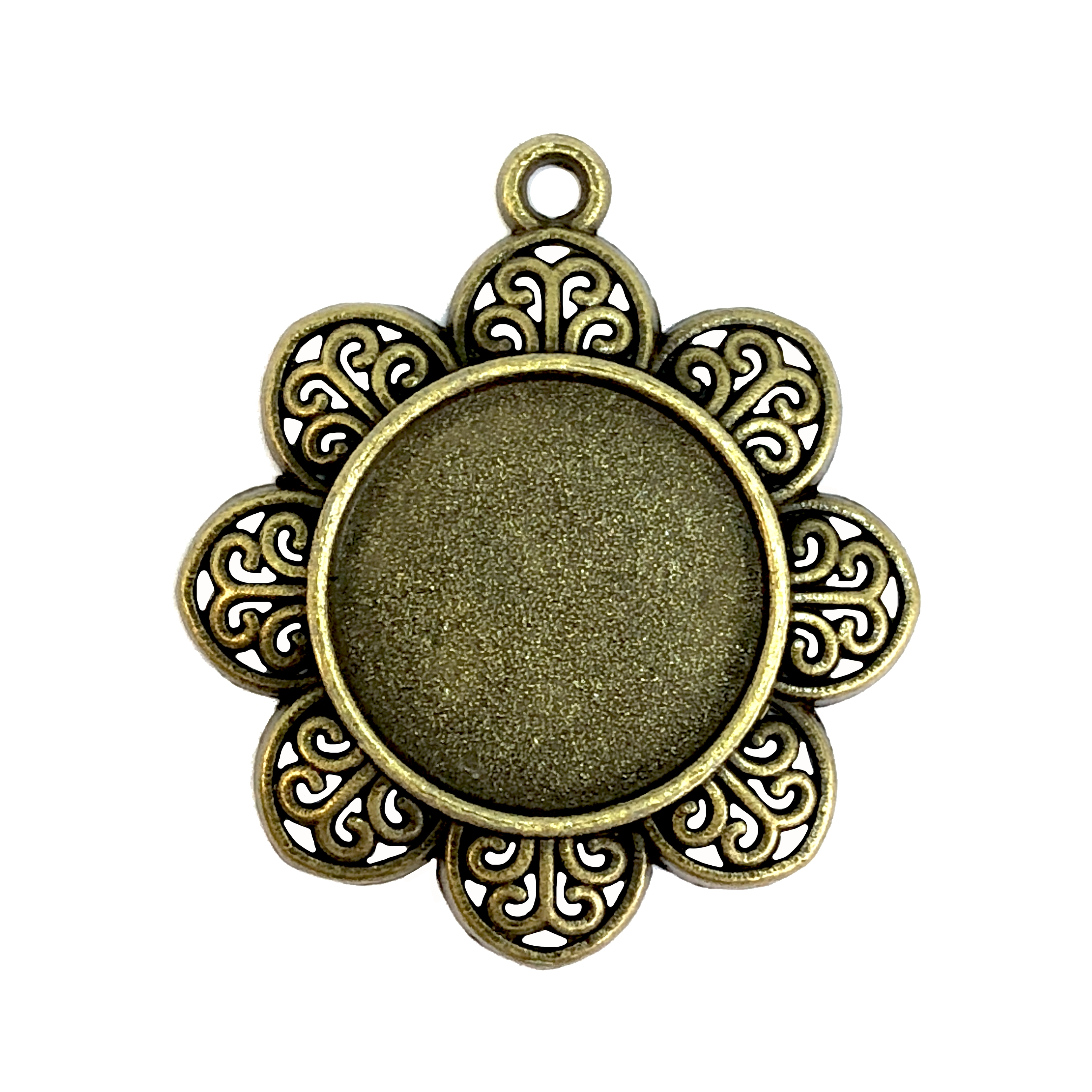 Flower Pendant Mount, floral bezel, 07897, mount, ceralun, jewelry supplies, B'sue Boutiques, 21mm mount, flower, bronze finish, pendant, charm