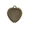 heart pendant, heart charm, cast zinc, bronze finish, 31x27mm, vintage supplies, heart, heart mount, jewelry findings, jewelry making, vintage supplies, jewelry supplies, charms, B'sue Boutiques, bow design edge, bow design heart, 07903