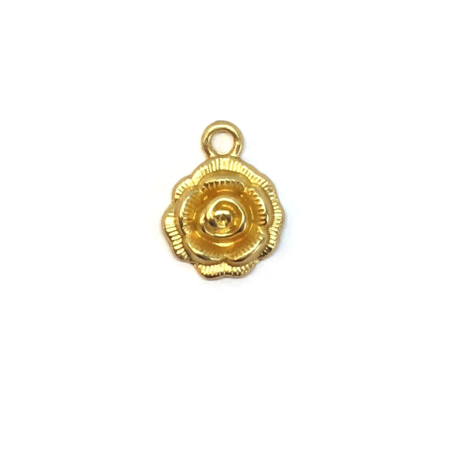 Rose Charm, Satin Gold, 07905, jewelry making, B'sue Boutiques, lead free, jewelry supplies, jewelry making, vintage supplies, rose pendants, brass, rose, connector, pendant, 14mm