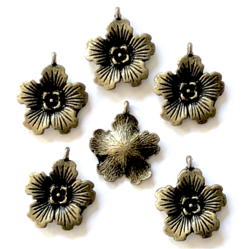 Flower earrings, pendants, charms, 07906, cast zinc, bronze finish, 21x18mm, vintage jewelry supplies, heart,  jewelry findings, jewelry making, vintage supplies, jewelry supplies, charms, B'sue Boutiques, cast earrings
