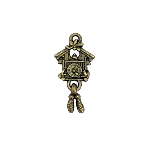 Cuckoo clock earrings, pendants, charms, 07907, cast zinc, bronze finish, 25x12mm, vintage jewelry supplies, heart,  jewelry findings, jewelry making, vintage supplies, jewelry supplies, charms, B'sue Boutiques, cast earrings