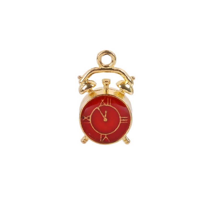 alarm clock charms, zinc based alloy charms, red enamel, gold plate finish, jewelry making supplies, vintage jewelry supplies, clocks charms, clock pendants, steampunk art, 07914