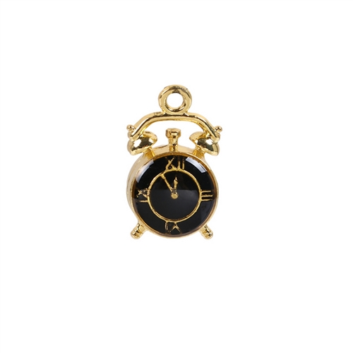 alarm clock charms, zinc based alloy charms, black enamel, gold plate finish, jewelry making supplies, vintage jewelry supplies, clocks charms, clock pendants, steampunk art, 07915