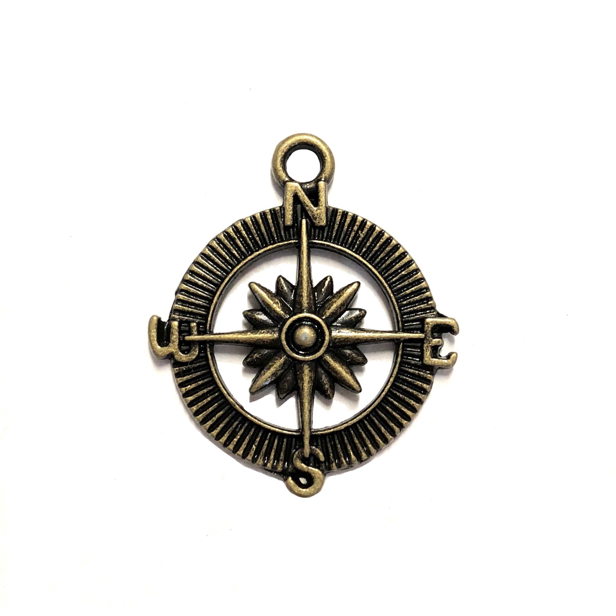 bronze compass, cast zinc, compass, steampunk art, steampunk, stamping, 25mm, starburst center, lead free, B'sue Boutiques, jewelry making, jewelry findings, vintage supplies, jewelry supplies, 08087, compass charm, charm, pendant