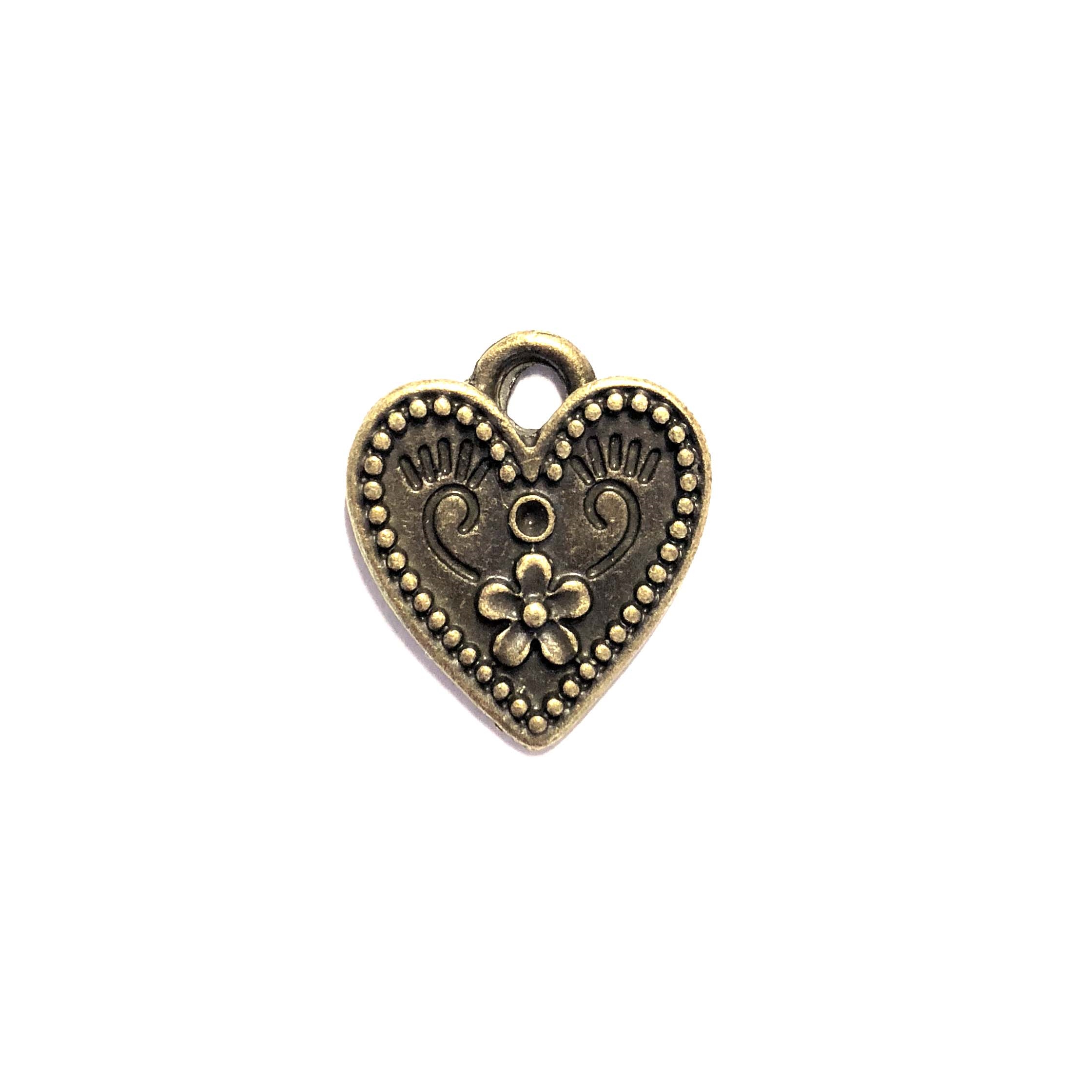 flower heart charm, bronze finish, heart charm, cast zinc, 19mm, lead free,  jewelry findings, B'sue Boutiques, charm, heart, flower, pendent, heart flower, flower heart, 08088