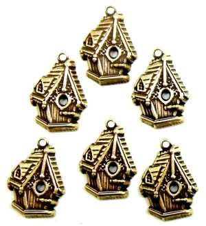 Brass Bird House, Birdhouse Charms, Brass Ox, 17 x 14mm
