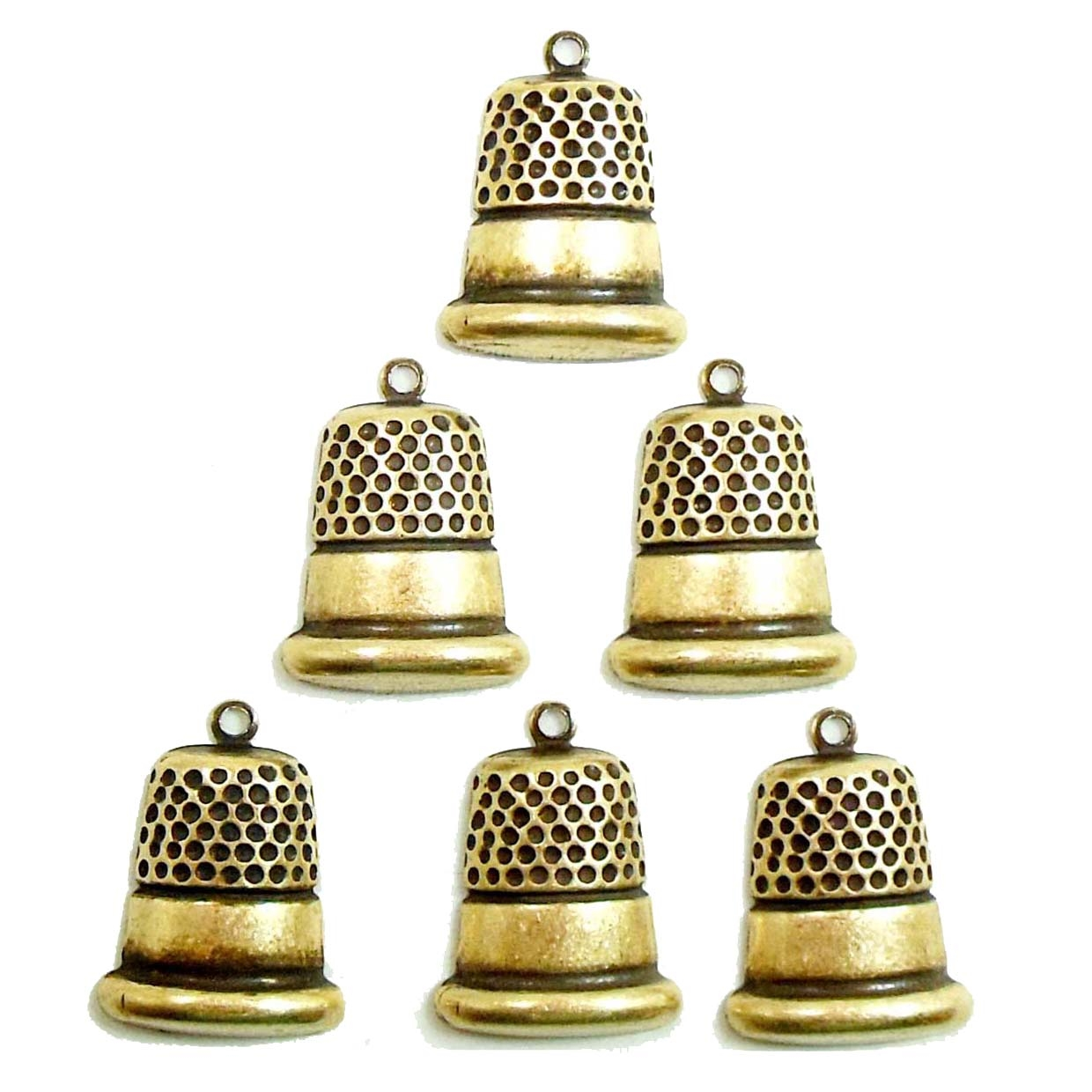Brass Stamping, Charm, Thimble, Brass Ox, 16 x 13mm