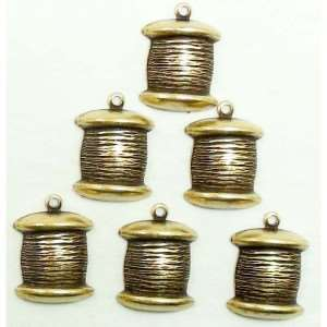 Brass Stamping, Charm, Spool of Thread, Brass Ox, 15 x 13mm