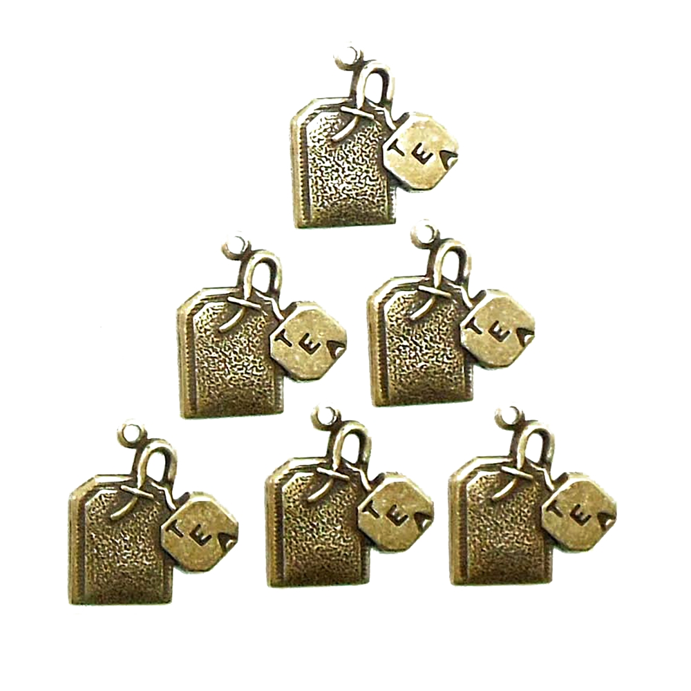 Brass Stampings, Tea Bag Charms, Brass Ox, 15 x 16mm
