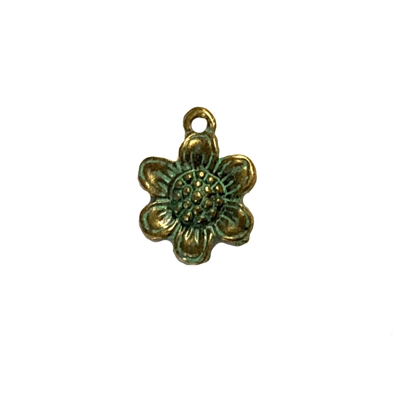 brass charms, sunflowers, daisies, antique bronze patina, 08239, B'sue Boutiques, nickel free jewelry supplies, US made jewelry supplies, vintage jewellery supplies, flower charms, daisy charms