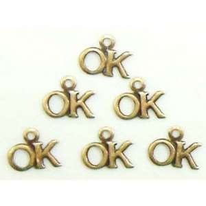 Brass Charms, OK Charm, Brass Ox, 5 x 9mm
