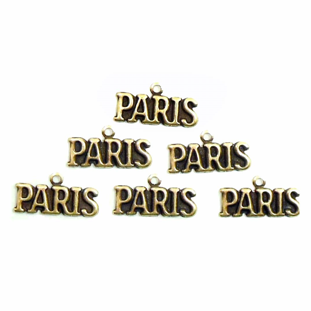 brass ox, Paris, charm, 08243, Paris charm, France, words, text, charms, antique brass, brass charms, jewelry making, jewelry supplies, Bsue Boutiques