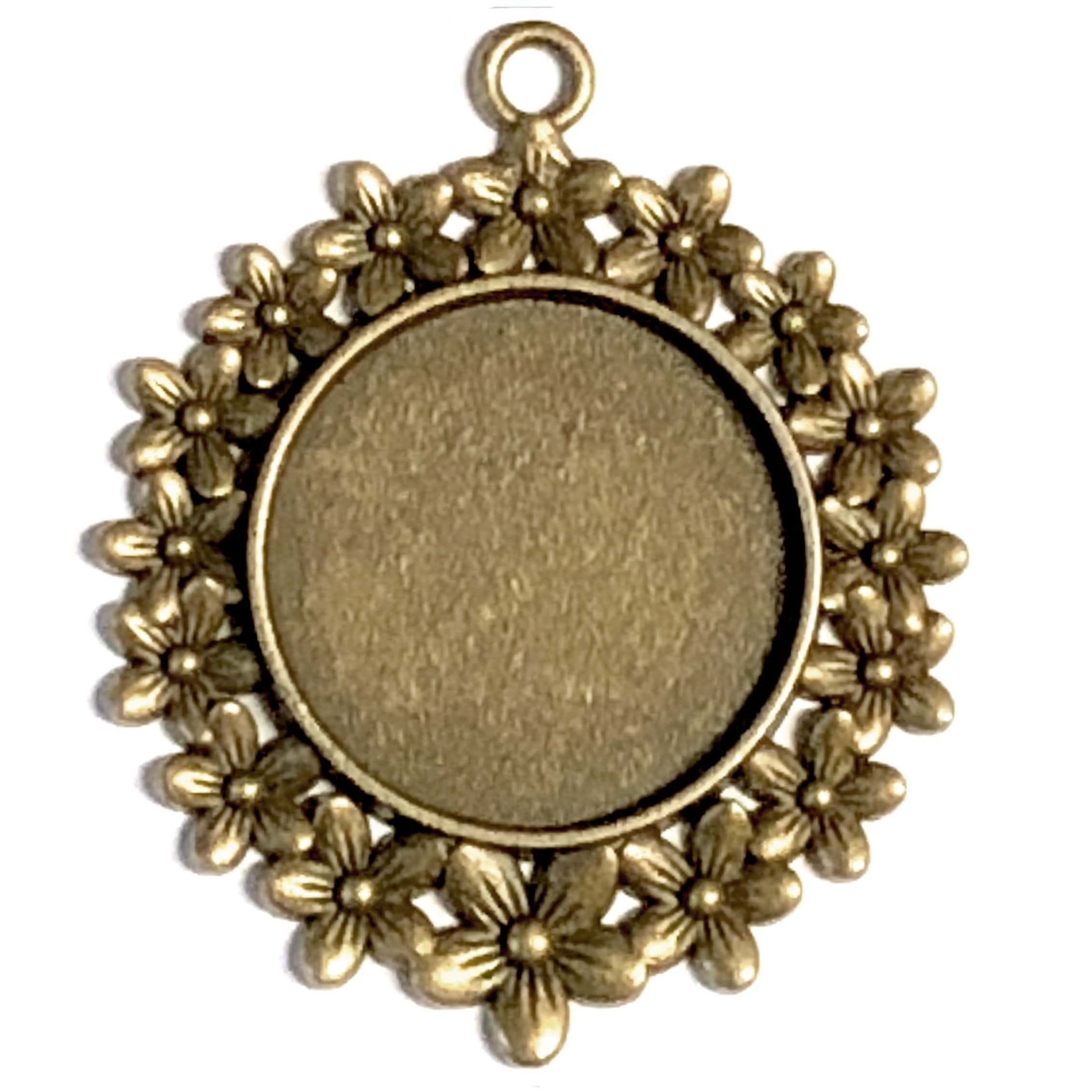 Cast Daisy Pendant Mount, daisy border, cameo charm, 08261, mount, jewelry mount, jewelry supplies, B'sue Boutiques, 45x41mm mount, bronze finish, pendant, jewelry making supplies,