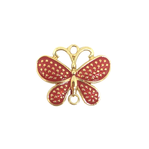 butterfly, connector, red, gold plated, 08290, butterflies, animals, insects, bugs, red enamel, butterfly charm, pendant, charm, charms, Bsue Boutiques, jewelry supplies, findings, jewelry making, connectors