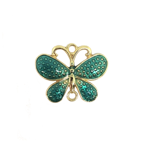 butterfly, connector, teal, gold plated, 08291, butterflies, animals, insects, bugs, peacock green enamel, butterfly charm, pendant, charm, charms, Bsue Boutiques, jewelry supplies, findings, jewelry making, connectors