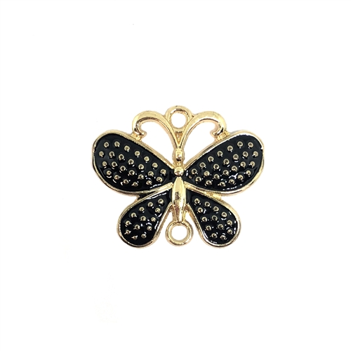 butterfly, connector, black, gold plated, 08292, butterflies, animals, insects, bugs, black enamel, butterfly charm, pendant, charm, charms, Bsue Boutiques, jewelry supplies, findings, jewelry making, connectors