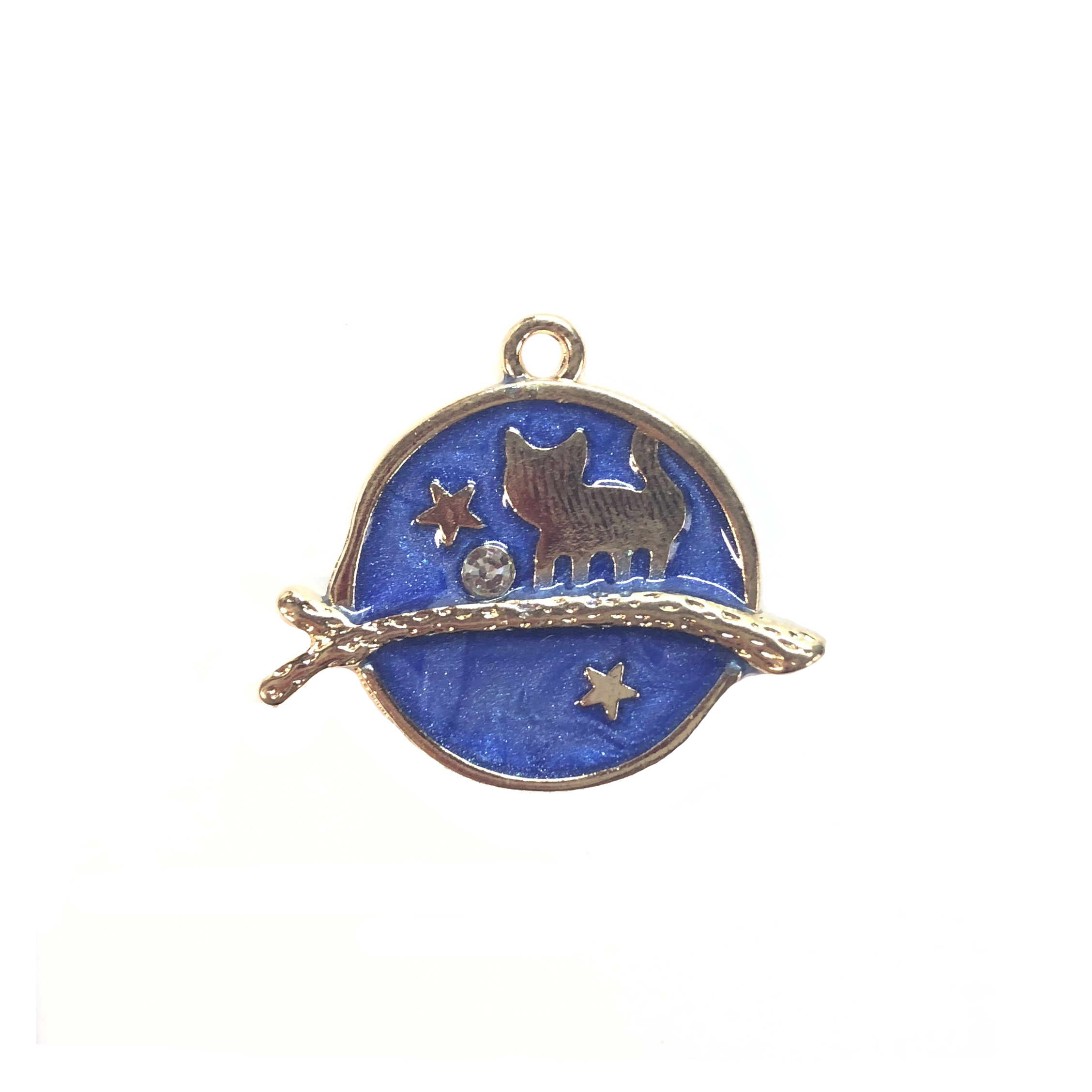 Cat Charm, blue enamel, gold plated, 08294, 26 x 22mm, cast zinc, B'sue Boutiques, jewelry making, jewelry supplies, jewelry findings, animals, pets, kitties, kitten, kitty, cats, charms, pendant, gold charm