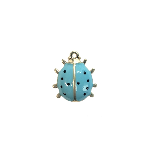 ladybug charm, blue enamel, 08296, gold plated, charm, bug, insect, animals, turquoise blue, lady bug, bug charm, Bsue Boutiques, jewelry supplies, jewelry making, ear drops, pendant