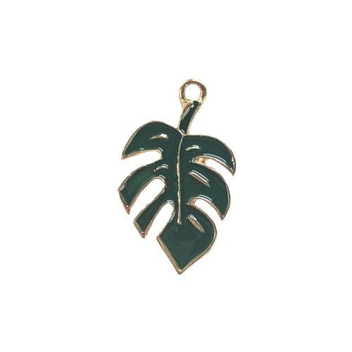 palm leaf, green enamel, charm, 08297, cast zinc, leaf, leaves, charms, pendant, ear drop,  leaf charm, Bsue Boutiques, 29 x 17mm, jewelry supplies, jewelry making
