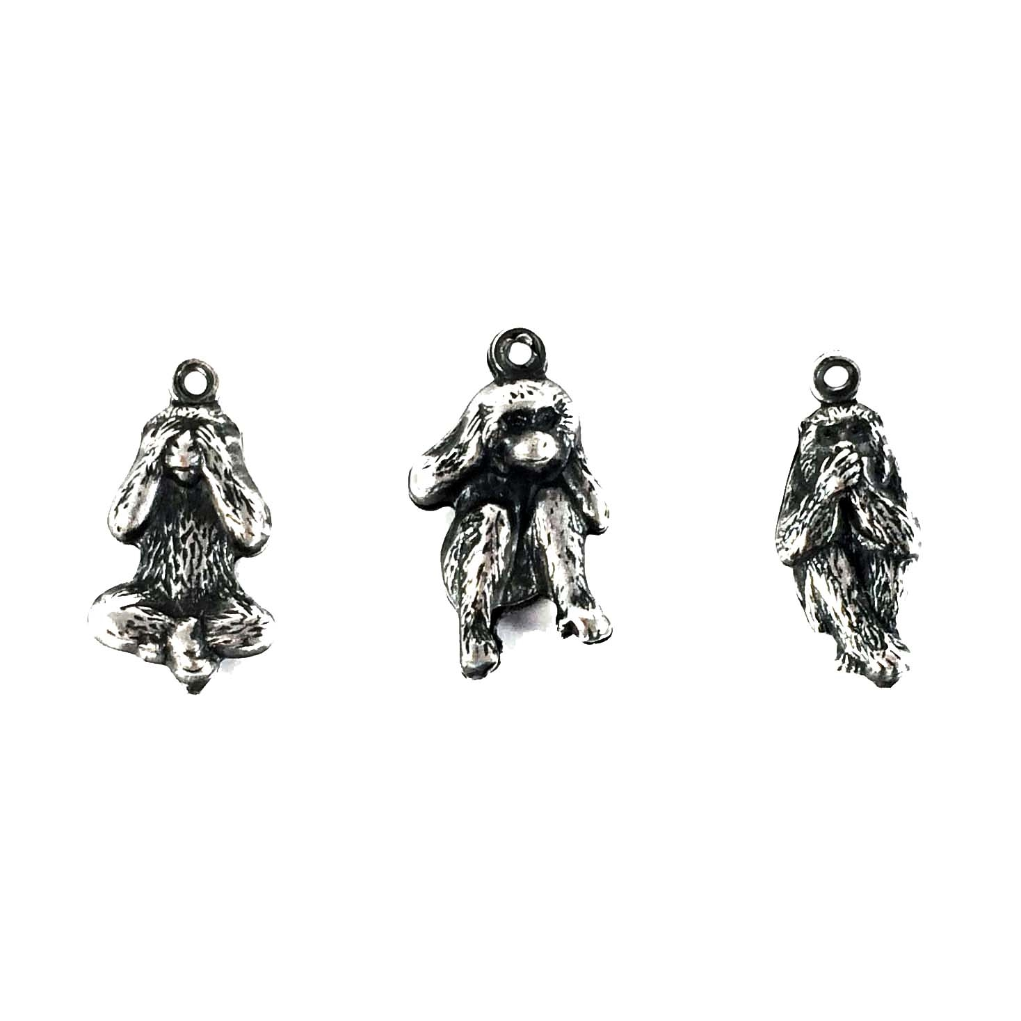 Brass Monkeys, See No, Hear No, Speak No, silverware, antique silver,  Puffy charms, 16mm, Set of 3, Monkeys, Charms, Brass Stamping, Jewelry Findings, Charm Accents, Pendent, Two Sided, us made, vintage, Nickel Free, B'sue Boutiques,08383