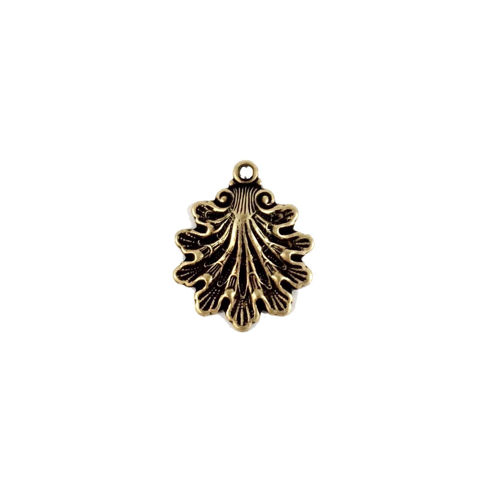 brass shell, brass charm, brass ox, 08391, brass ox, jewelry making, 15x14mm, B'sue Boutiques, nickel free jewelry supplies, vintage jewellery supplies, US made jewelry supplies, antique brass,