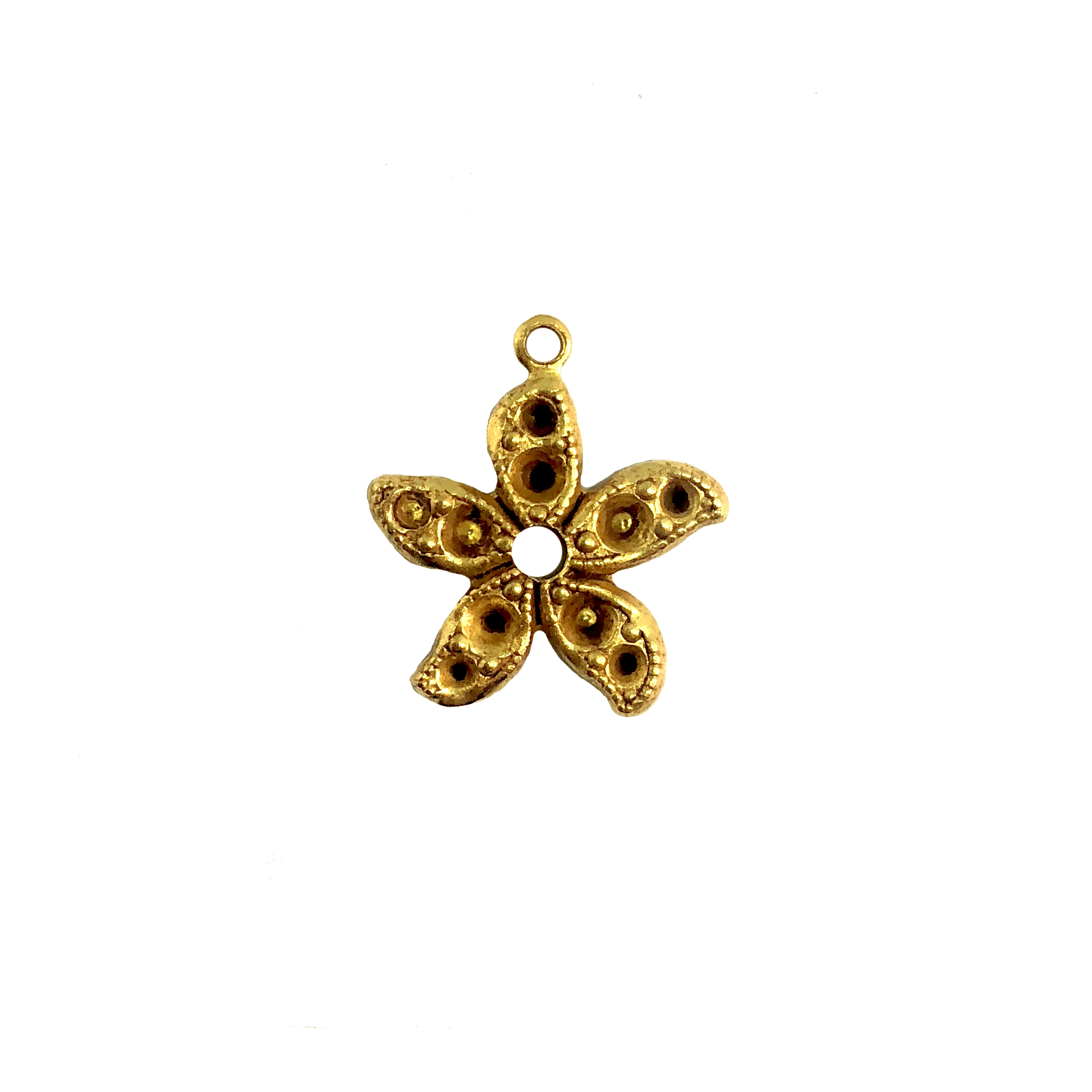 Brass starfish or flower, classic gold, charm, earring drop, Brass Stamping, Us Made. Nickel Free, B'sue Boutiques, Jewelry Supplies, Jewelry Parts, Jewelry Making, 08496, jewelry findings, charms, beach, ocean, sea life, flower