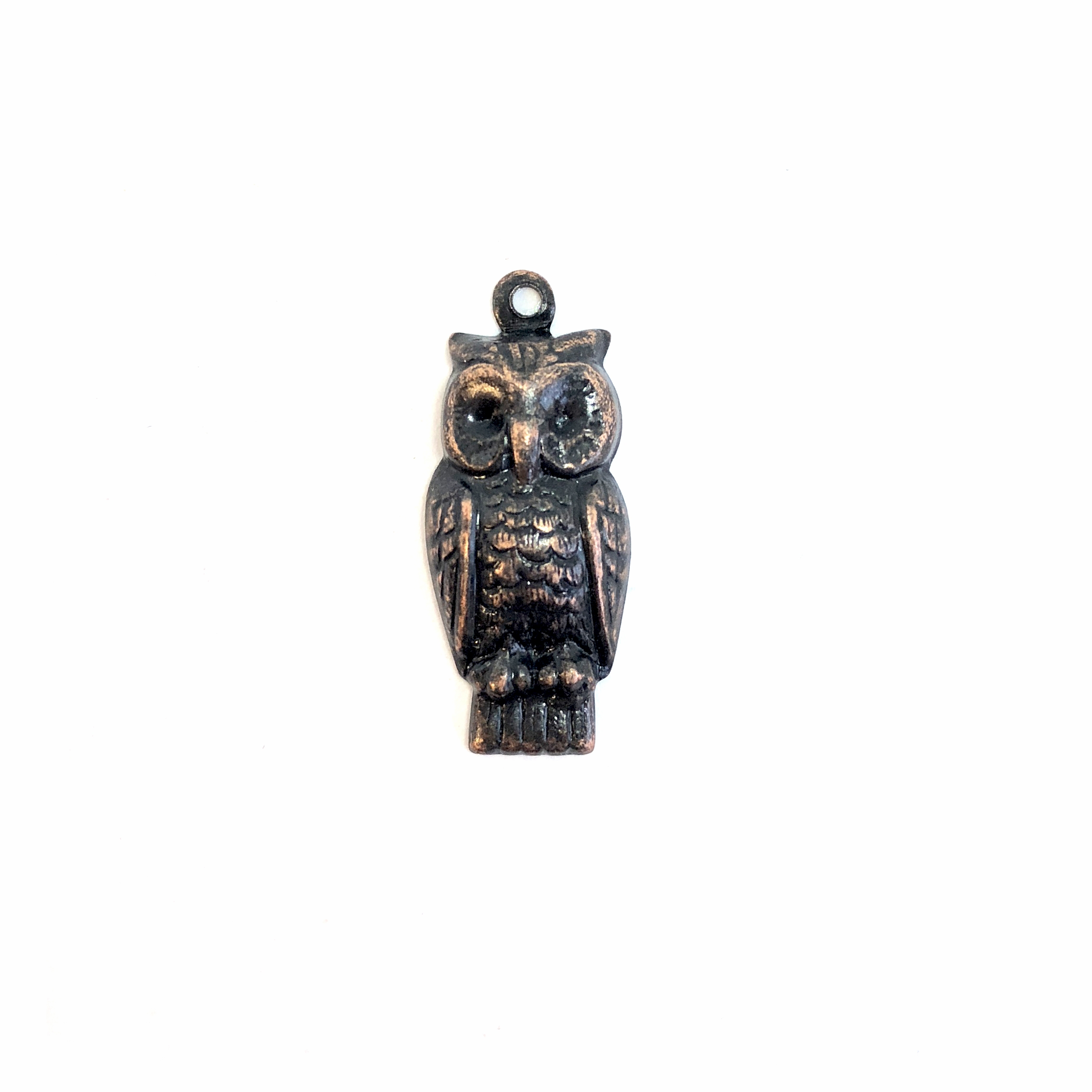 perched owl charm, rusted iron, owl, charm, 24x11mm, owl charm, copper accents, brass stamping, B'sue Boutiques, nickel free, US made, vintage supplies, jewelry making, animal charm,  jewelry supplies, jewelry findings, 08605