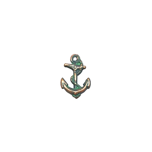 brass anchor, anchor charms, aqua copper patina, 08668, vintage jewelry supplies, ocean jewelry, sea jewelry, copper highlights, antique copper, beach jewelry