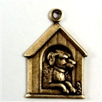 dog in dog house charm, pet charm, dog, house, dog house, charm, silverware, silverplate, animal, pet, house charm, dog charm, brass ox, antique brass us made, nickel free, jewelry making, jewelry findings, vintage supplies, 08866