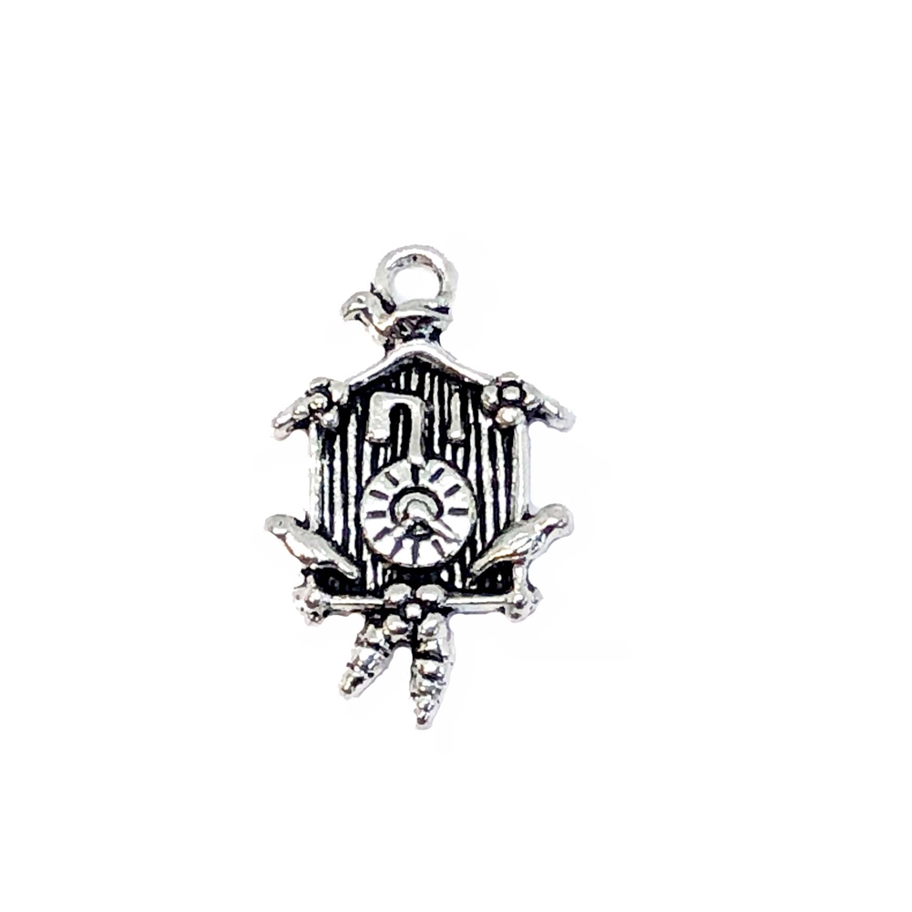 cuckoo clock charms, clock pendants, antique silver, 26 x 26mm, silverware silver plate, jewelry making supplies, vintage jewelry supplies, zinc alloy clocks, clock pendants, steampunk art, 08876